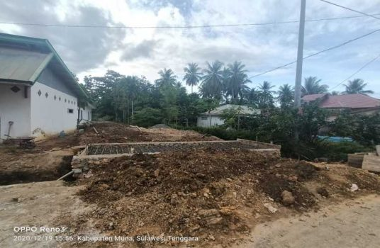 Proyek Pembangunan Deucker di Kelurahan Tiworo, Kecamatan Tikep, Kab.Muna Barat, Sulsel,Sabtu (19/12/2020)